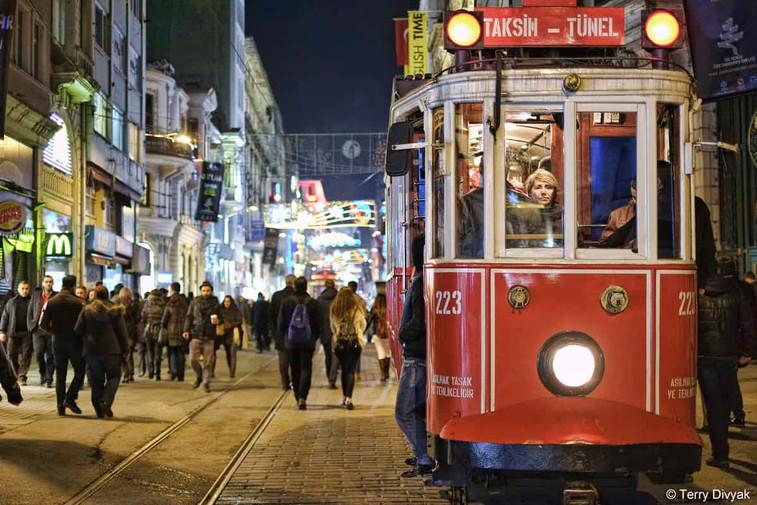 Trolley in Taksim Square in Istanbul, Turkey