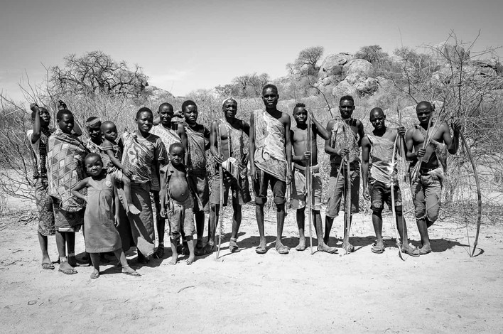 Family portrait of a group of Hadzabe tribe members