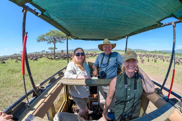 My friends on safari in Tanzania in the Central Serengeti.