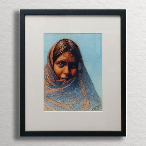 Woman in Blanket Signed Print