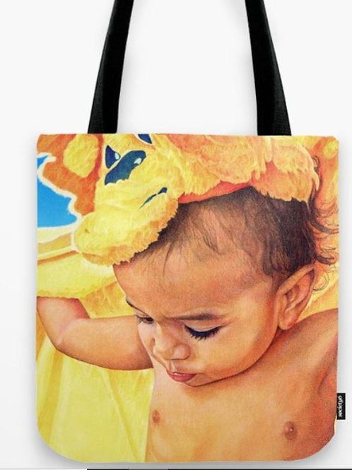 Baby with Blanket Tote Bag
