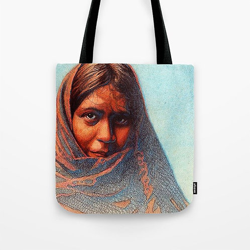 Woman in Blanket Tote Bag (Size 13x13)