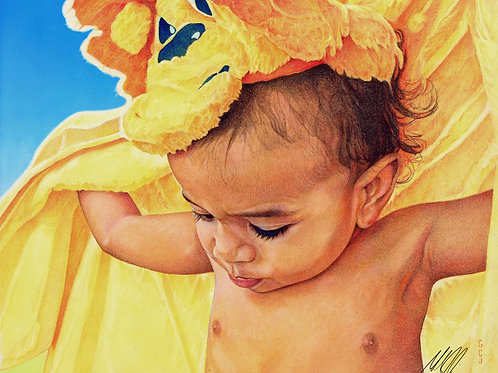 Baby with Blanket Signed Print