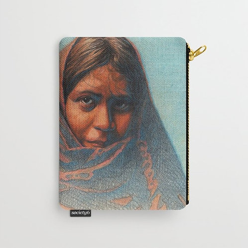 Woman in Blanket Pouch