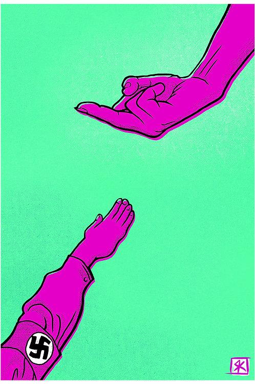F#@K Fascists purple on green Fine art print 13x19 inches