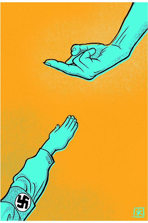 F#@K Fascists blue on orange Fine art print 13x19 inches