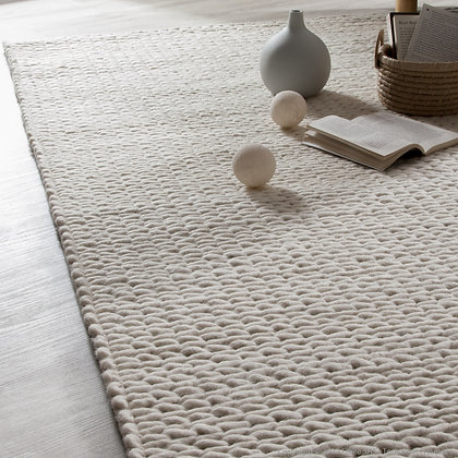 GLEESE, tapis laine beige