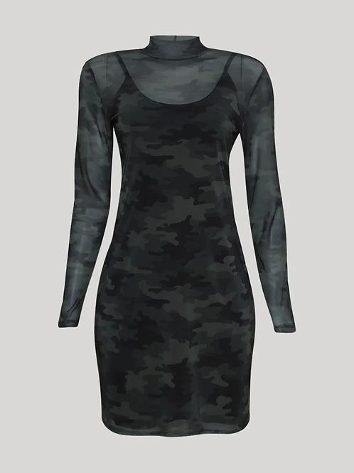 vestido de tule feminino curto estampado camuflado manga longa gola alta verde m