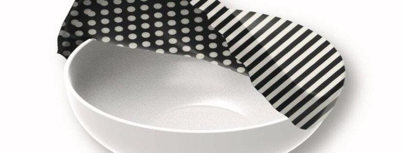 Textil Schüsselabdeckung XL Streifen Schwarz/Weiss