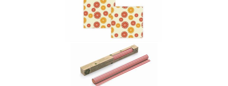 Bienenwachstücher Zitrus 2er Set und Bienenwachstuch-Rolle Rot Geschenkset