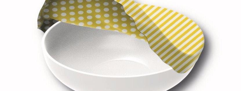 Textil Schüsselabdeckung XL Streifen Gelb