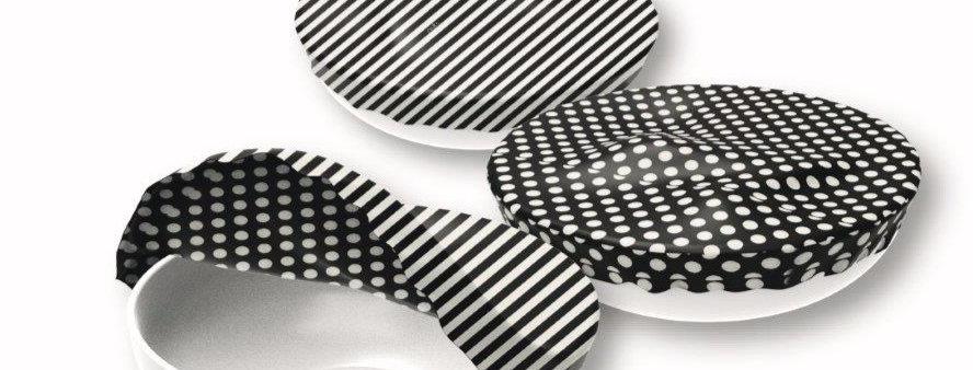 Textile Bowl Cover Set of 3 black/white