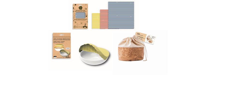 Bienenwachstücher 3er Set, XS Korkbeutel und Schüsselabdeckung gelb Geschenkset