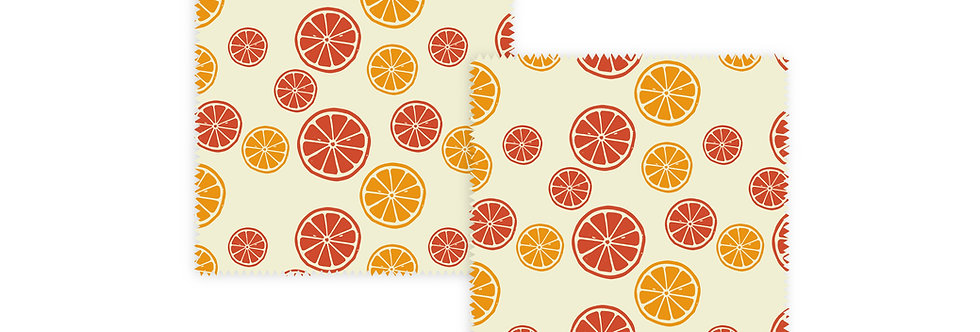 Set of 2 Beeswax Wraps Citrus