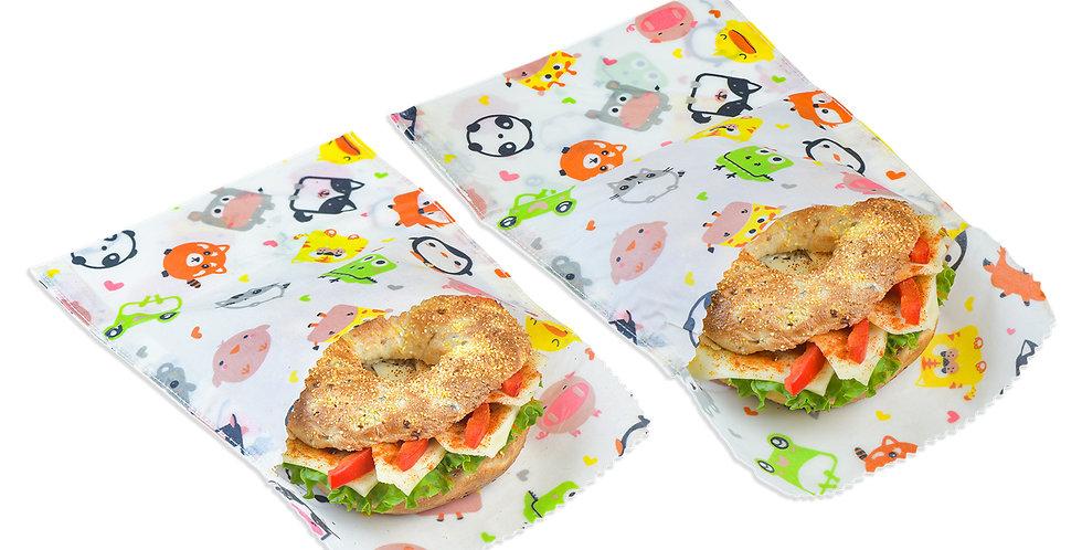 2er Set Kids Bienenwachs Snack- & Sandwichbeutel
