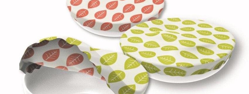 Textil Schüsselabdeckung 3er Set Grüne Blätter