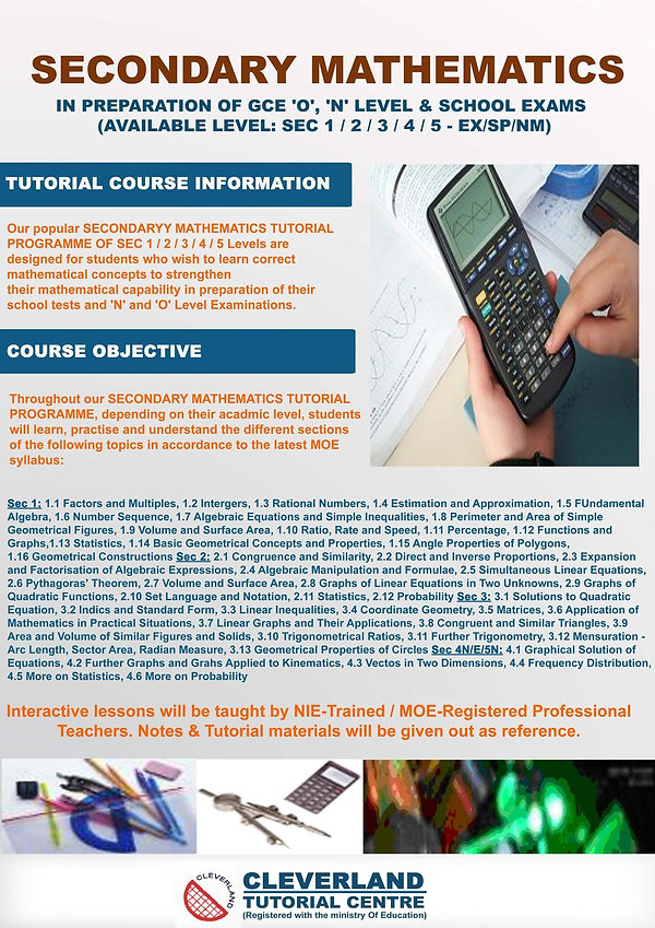 Secondary Math Tuition | Sec 1 to 5 | Cleverland Tutorial Centre