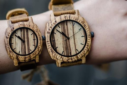 Zebra Wood Handcrafted Watch