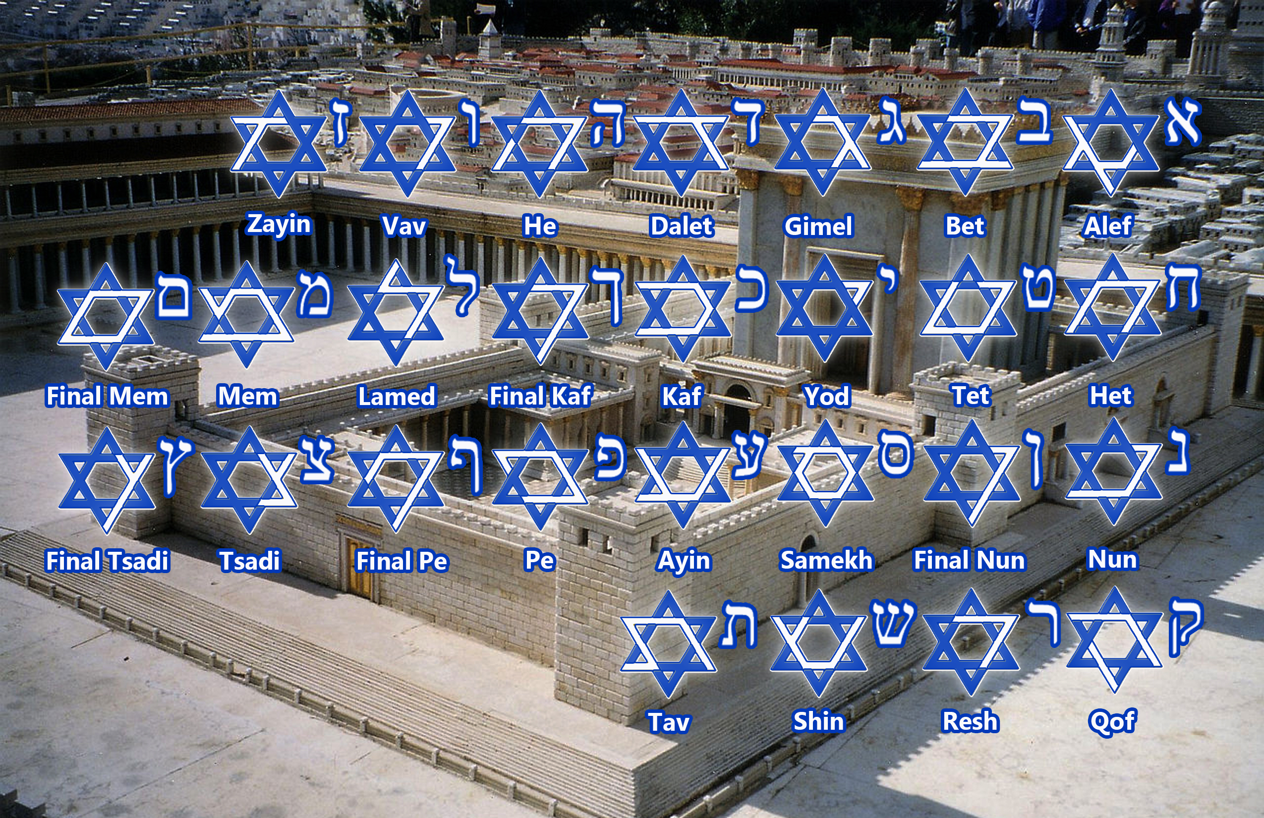 Star of David Hebrew Outline w Temple