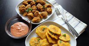 Vegan Chicharrón de Pollo and Tostones