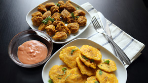 Vegan Chicharrón de Pollo and Tostones