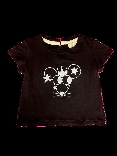 T-shirt Evase Souris preta
