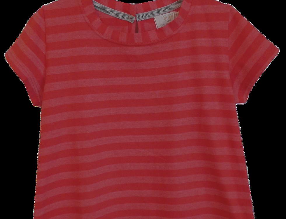 T-shirt Evase listras vermelha