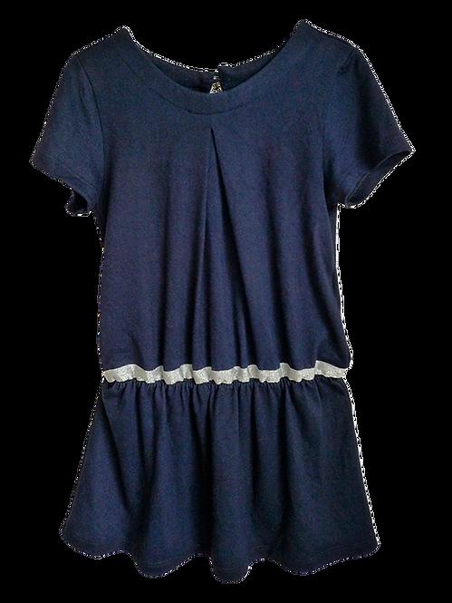 Vestido azul com fita prata