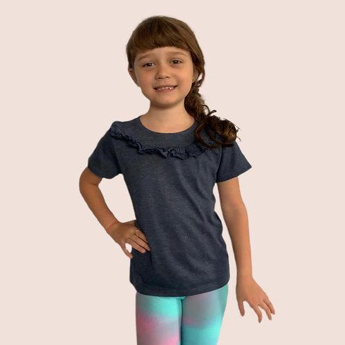 T-shirt babados azul