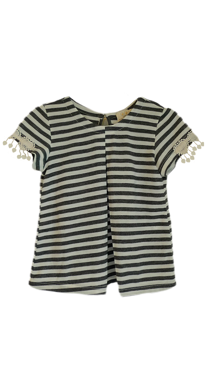 T-shirt evase cinza listras com bordado