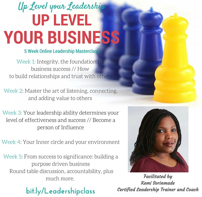 Kemi Sorinmade Leadership Course. Up Level your Business, Become a better Leader