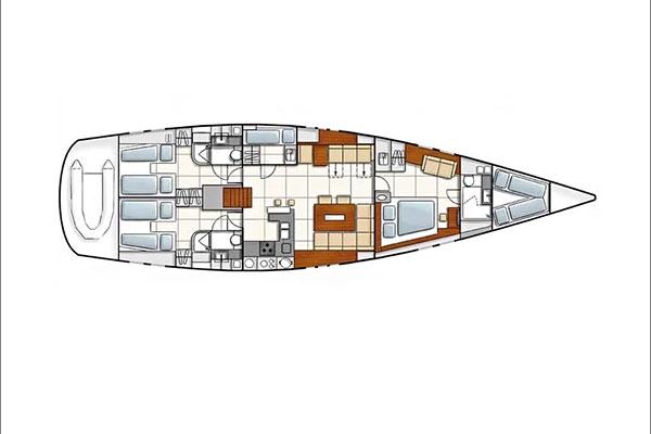 Vista en planta del velero