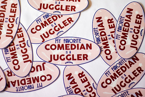 My Favorite Comedian is a Juggler Large Oval Sticker
