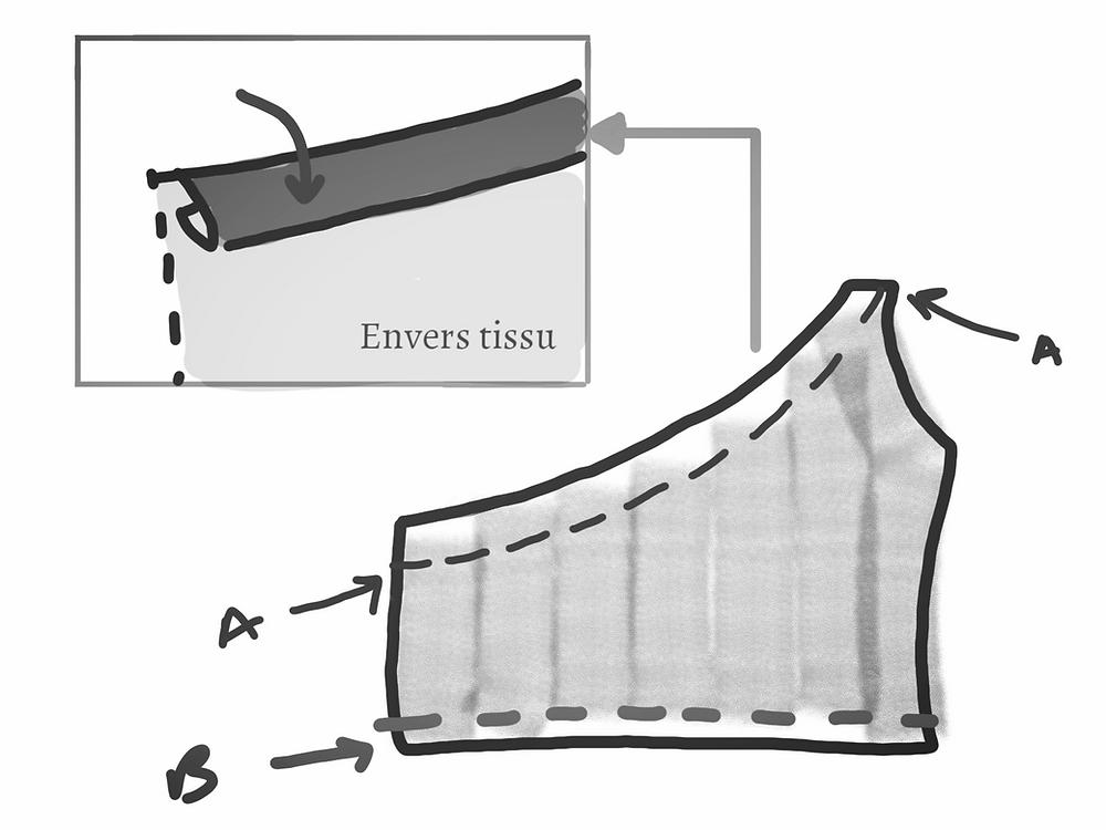 schéma couture top one shoulder passage élastique