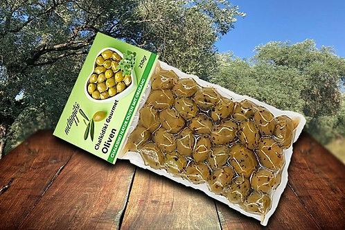 Grüne Halkidiki Oliven mariniert mit Oregano 250g Vakuum