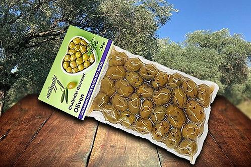 Grüne Halkidiki Oliven mariniert mit Thymian 250g Vakuum