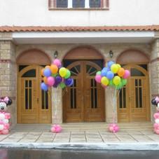 κατασκευή Minnie και μπαλόνια με ήλιον