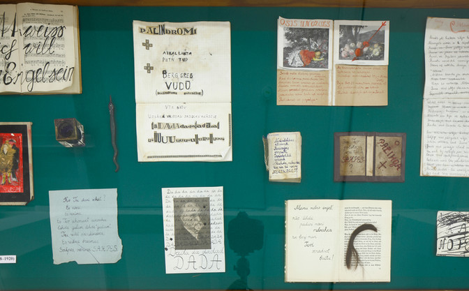 Berlin period (1917 - 1921)  Set of personal belongings, notebooks and poem sketches attributed to Berlin period (1917 -1921) installed at the exhibition at Kim? contemporary art centre, Riga, 2018. Photo by Ansis Starks.