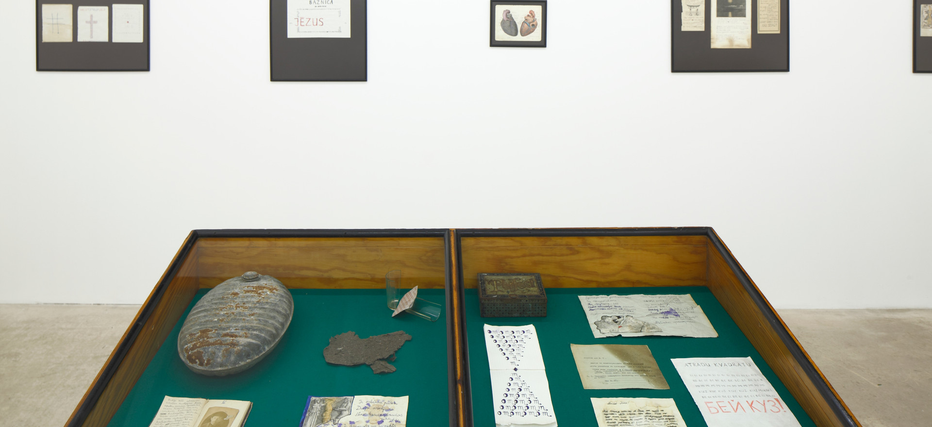 St Petersburg period (1906 - 1917)  Set of personal belongings, notebooks and poem sketches attributed to St. Petersburg period (1906-1917) installed at the exhibition at Kim? contemporary art centre, Riga, 2018. Photo by Ansis Starks.