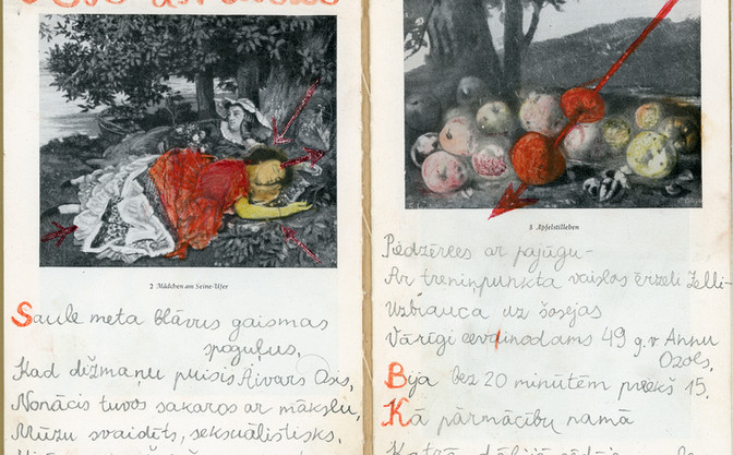 OSIS UN OZOLS (ASH AND OAK)  Poem and ilustration worked in an art book (German period, circa 1919)