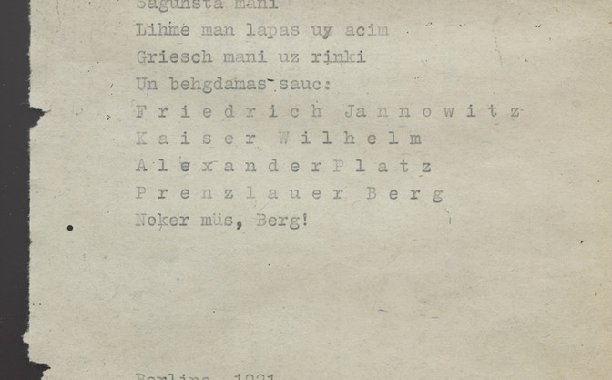 BERLĪNES LIEPAS (LINDEN OF BERLIN)  Poem attributed to Berlin period (circa 1920). Photo by Ansis Starks.