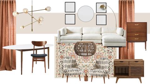 Warm Boho Contemporary Living Room
