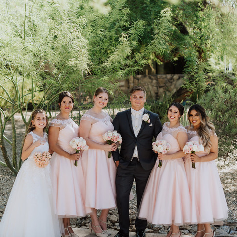 Groom + bridesmaids