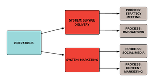"Systems are collections of processes organized for a common purpose like ""marketing"" or ""service delivery"". Processes are sequences of action steps. The step-by-step of a process is what we document in customized workflows."