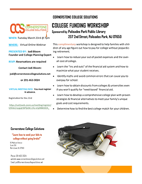 21-College Funding Workshop Flyer 3.23 P
