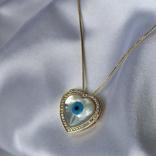 Colar Madre Pérola Coração Olho Grego