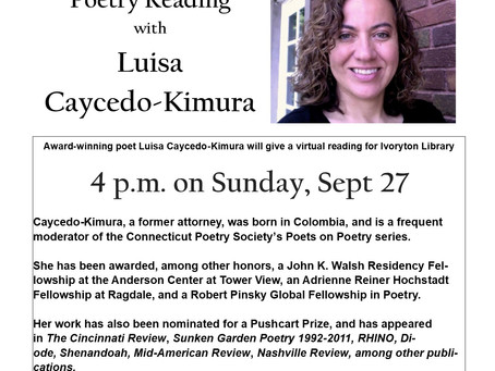 Virtual Poetry Reading: Sept 27th