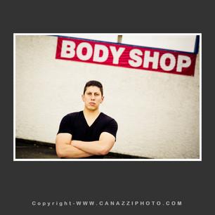 High School Senior Guy with Body Shop sign outdoors Camas Washington_222.jpg