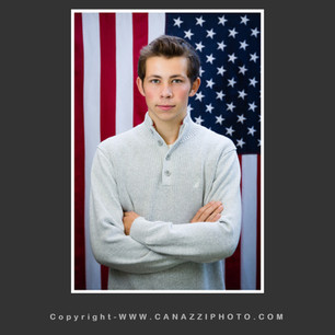 High School Senior Boy standing with American Flag Vancouver Washington_145.jpg