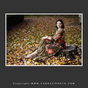 High School Senior Gal with dress reclining in fall leaves Vancouver Washington_260.jpg